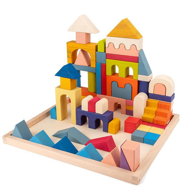 Castle House Natural Building Blocks 64-piece Wooden Toy