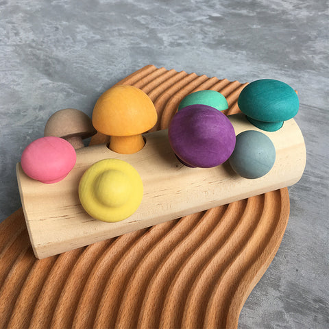 Colourful Mushroom Sorting Wooden Toy