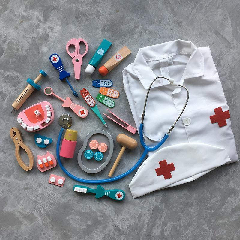 Doctor Dentist 2-in-1 Pretend Play Role Play Wooden Toy Set with Doctor's Costume - Fifth Avenue Kids, subsidiary of Frockalicious