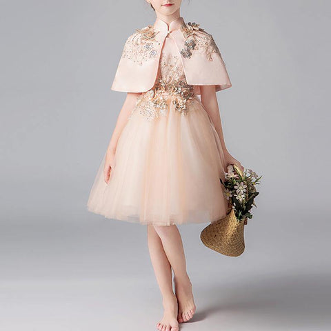 Girls Champagne Gold 3D Floral Dress with Cheongsam Cape