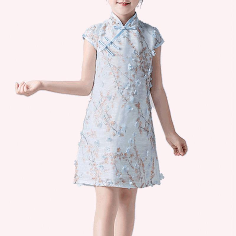 Girls Pink 3D Floral Qipao Cheongsam - Fifth Avenue Kids, subsidiary of Frockalicious