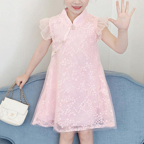 Girls Pink Ruffled Sleeves Cheongsam Qipao