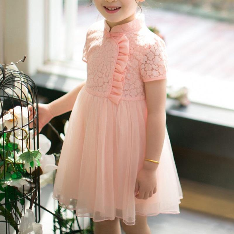 Girls Pink Short Sleeves Lace Tulle Choengsam Qipao