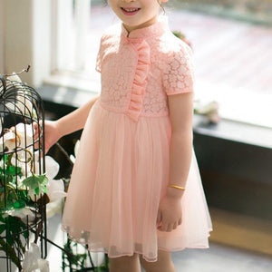 Girls Pink Short Sleeves Lace Tulle Choengsam Qipao - Fifth Avenue Kids, subsidiary of Frockalicious
