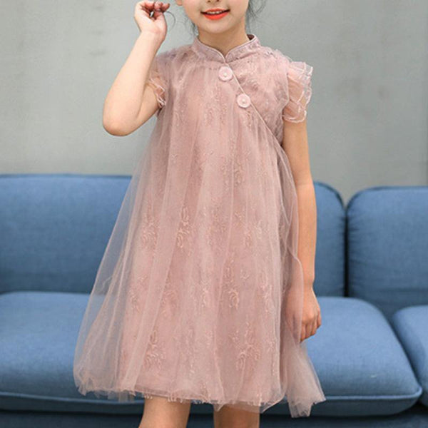 Girls Pink Sleeveless Babydoll Cheongsam Qipao - Fifth Avenue Kids, subsidiary of Frockalicious