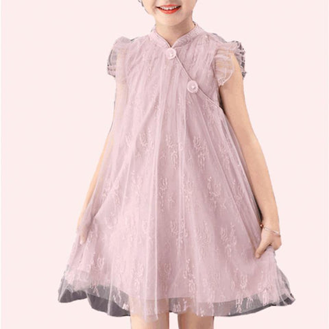 Girls Pink Sleeveless Babydoll Cheongsam Qipao