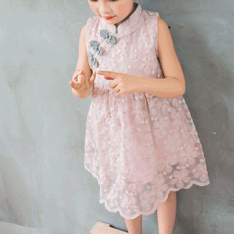 Girls Pink Sleeveless Skater Cheongsam Qipao