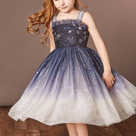 Girls Princess Sequin Mesh Dress