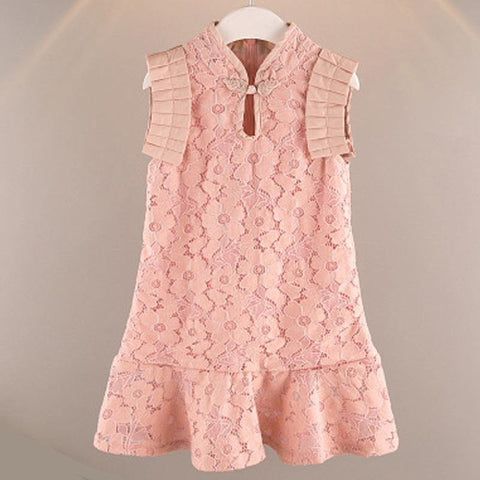 Girls Ruffled Lace Cheongsam Qipao