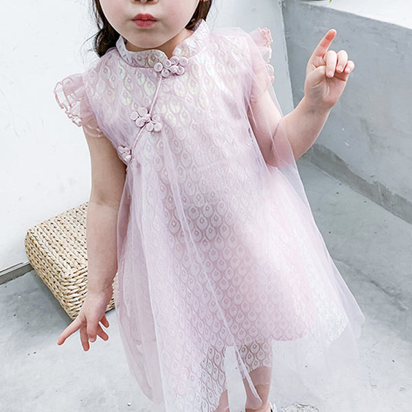 Girls Ruffled Sleeves Bling Cheongsam Qipao