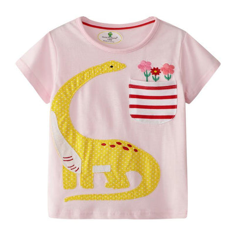 Girls Short Sleeves Brontosaurus T-shirt - Fifth Avenue Kids, subsidiary of Frockalicious
