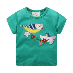 Girls Short Sleeves Embroidered Birds T-shirt