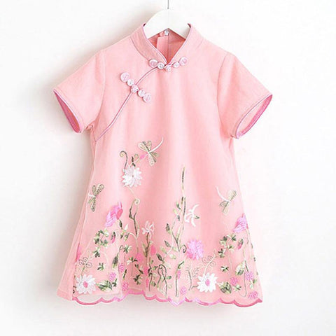 Girls Short Sleeves Embroidered Floral Qipao Cheongsam