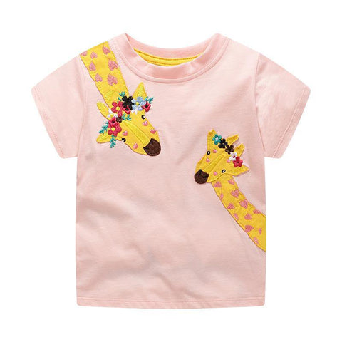 Girls Short Sleeves Giraffe T-shirt