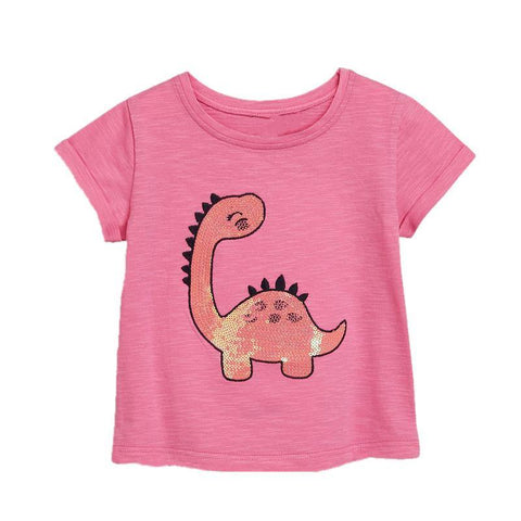 Girls Short Sleeves Sequin Dinosaur T-shirt