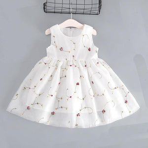 Girls Sleeveless Embroidered Floral Skater Dress - Fifth Avenue Kids, subsidiary of Frockalicious