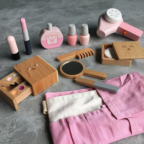 Hair Beauty Makeup Salon Vanity Wooden Toy Set Pretend Play - Fifth Avenue Kids, subsidiary of Frockalicious