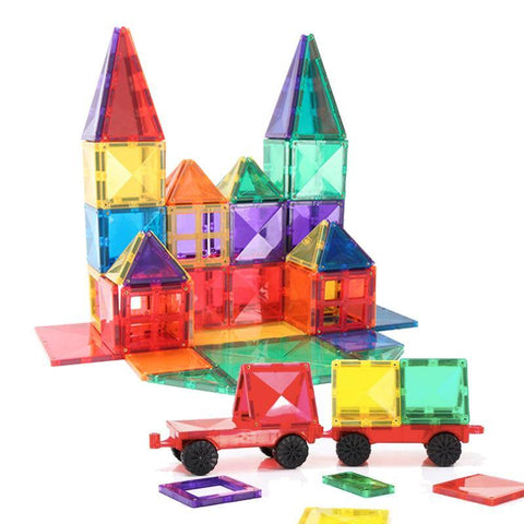 Diamond Magnetic Tiles 100-Piece with 2 Car Bases & Large Squares by Fifth Avenue Kids