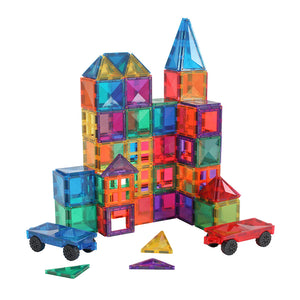 Magtelier Diamond Magnetic Tiles 100-Piece with 2 Car Bases & Large Squares by Fifth Avenue Kids