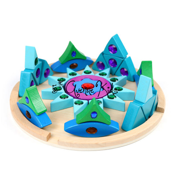 Rainbow Mandala Gem Natural Building Blocks Wooden Toy
