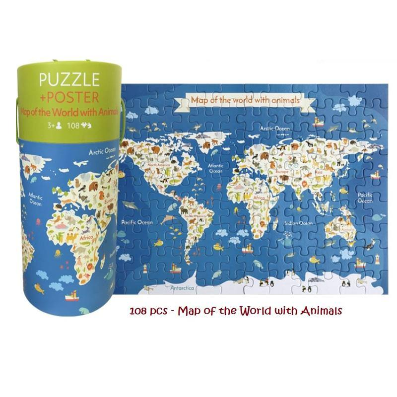 Map of the World 108-piece Jigsaw Puzzle & Poster - Fifth Avenue Kids, subsidiary of Frockalicious