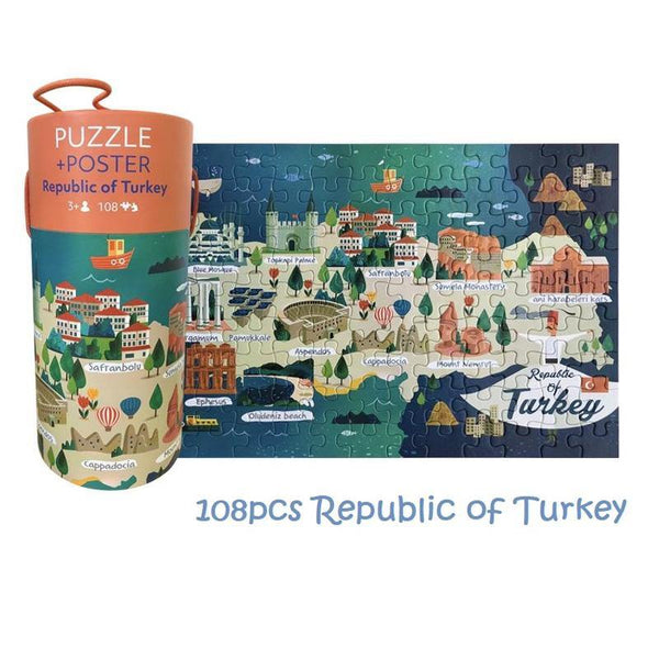 Map of the World 108-piece Jigsaw Puzzle & Poster