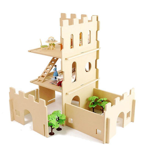 Modular Natural Castle Tower Playhouse Dollhouse - Fifth Avenue Kids, subsidiary of Frockalicious