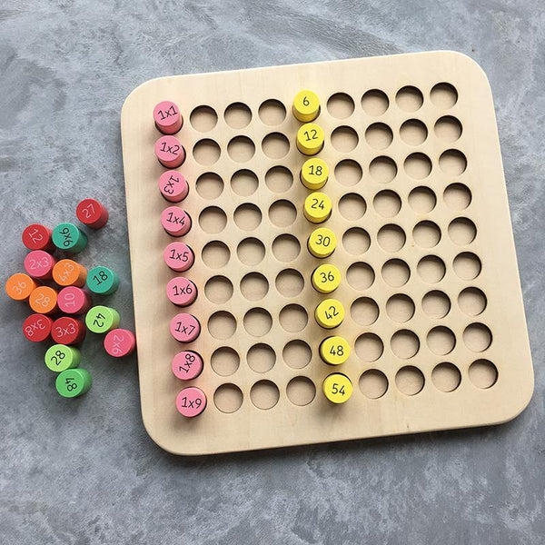 Multiplication Times Table Wooden Board Montessori Early Learning Manipulative Toy
