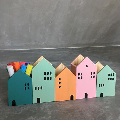 Colourful Houses Storage Wooden Box for Pencils Crayons Markers Stationery