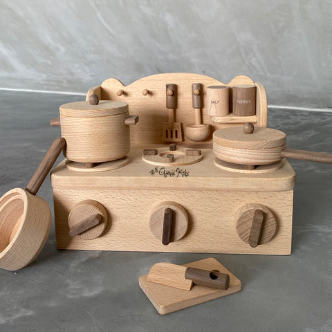 Portable Play Kitchen Wooden Heirloom Toy Set