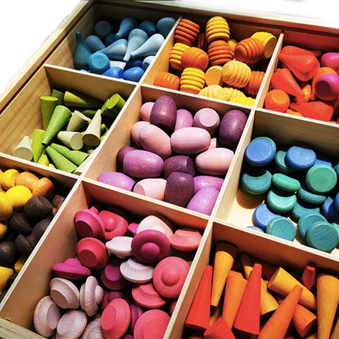 324 Piece Colourful Loose Parts Set with Tinker Tray - Fifth Avenue Kids, subsidiary of Frockalicious