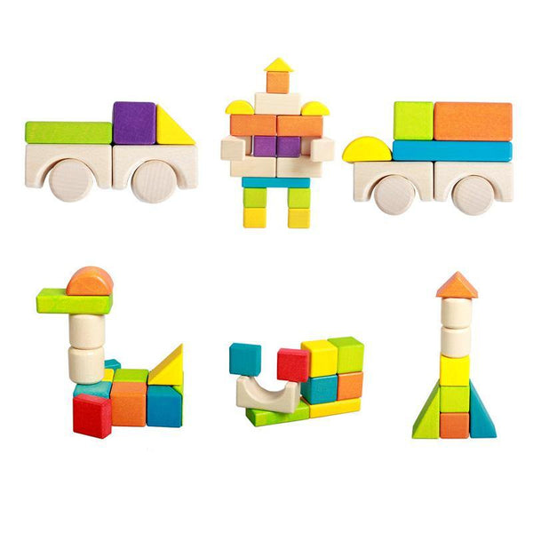 Rainbow Building Blocks 74-piece Wooden Open Ended Construction First Builder Toy Set