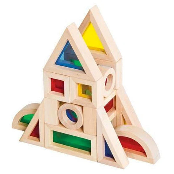 Rainbow Wooden Acrylic Building Blocks Stacker Toy