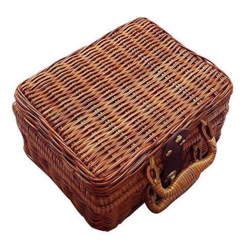 Rattan Wicker Mini Suitcase Trunk Storage Bag
