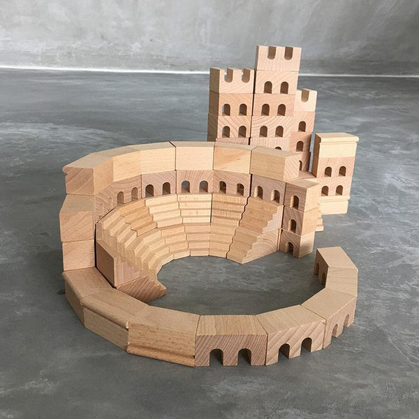 Roman Colosseum Building Blocks 110-piece Natural Wooden STEM Toy - Fifth Avenue Kids, subsidiary of Frockalicious