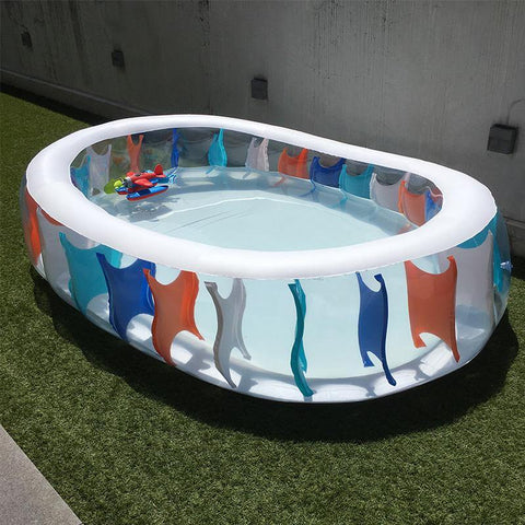 Swimming Pool for Family Inflatable See-Through Padding Pool with Electric Pump