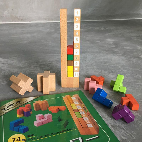 Tetris Tower Puzzle Wooden Toy - Fifth Avenue Kids, subsidiary of Frockalicious