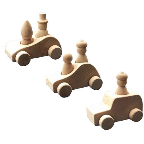 Wooden Convertible Cars with Peg Dolls Toy Set