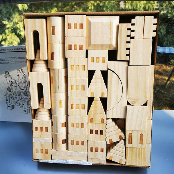 Castle Building Wooden Blocks Medieval Knights & Princesses Fortress STEM learning - Fifth Avenue Kids, subsidiary of Frockalicious