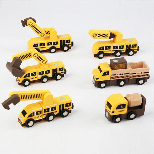 Wooden Magnetic Robot Engineering Vehicle Car Track Toy