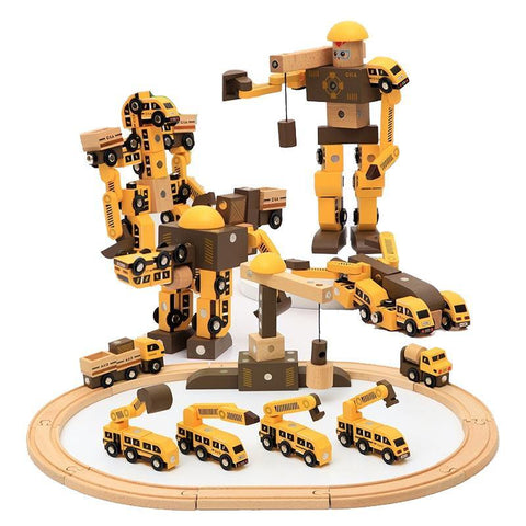 Wooden Magnetic Robot Engineering Vehicle Car Track Toy - Fifth Avenue Kids, subsidiary of Frockalicious