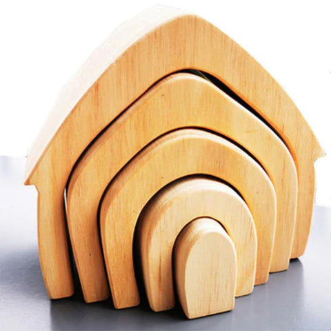 House Natural Arch Stacker Montessori Wooden Toy - Fifth Avenue Kids, subsidiary of Frockalicious