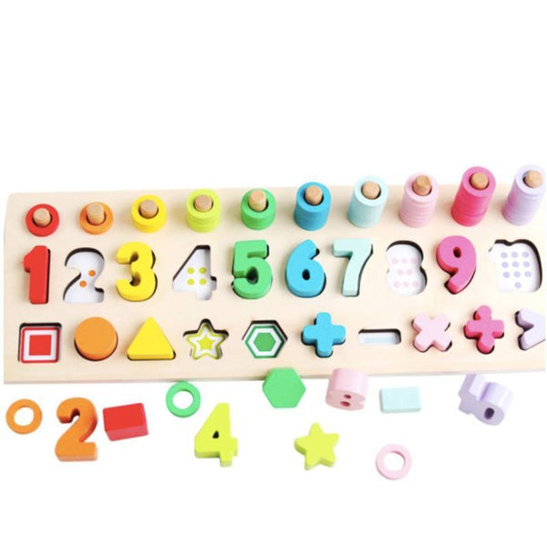 3-in-1 Montessori 3D Wooden Number Shape Counting Stacking Board Maths Ring Toy Gift Preschool Puzzle
