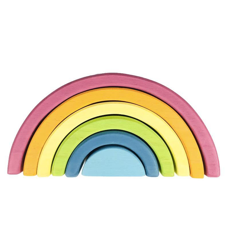 Mini Steiner Rainbow Small Pastel Arch Stacker Wooden Nesting Montessori Waldorf Toy - Fifth Avenue Kids, subsidiary of Frockalicious