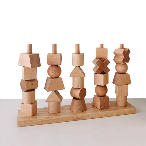 Wooden Stacker Shape Sorting Toy - Fifth Avenue Kids, subsidiary of Frockalicious