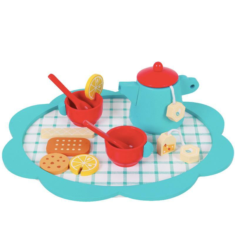 Wooden Tea Set Toy Blue - Fifth Avenue Kids, subsidiary of Frockalicious