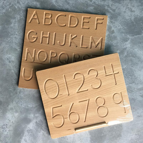 Reversible Double Sided Alphabet A-Z Uppercase Lowercase Wooden Tracing Board