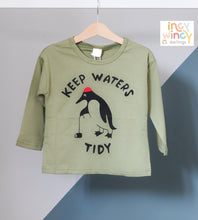 Load image into Gallery viewer, Keep Waters Tidy Green Long Sleeve Top