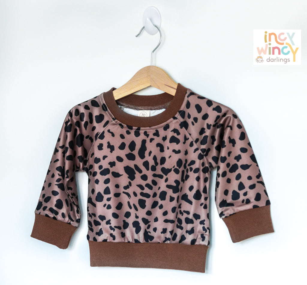 Leopard Print Satin Sweater Top