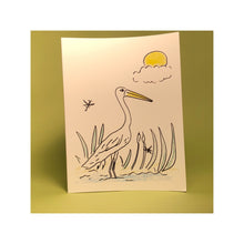 Load image into Gallery viewer, Egret Greeting Card (Original Art by Green Camel Press)